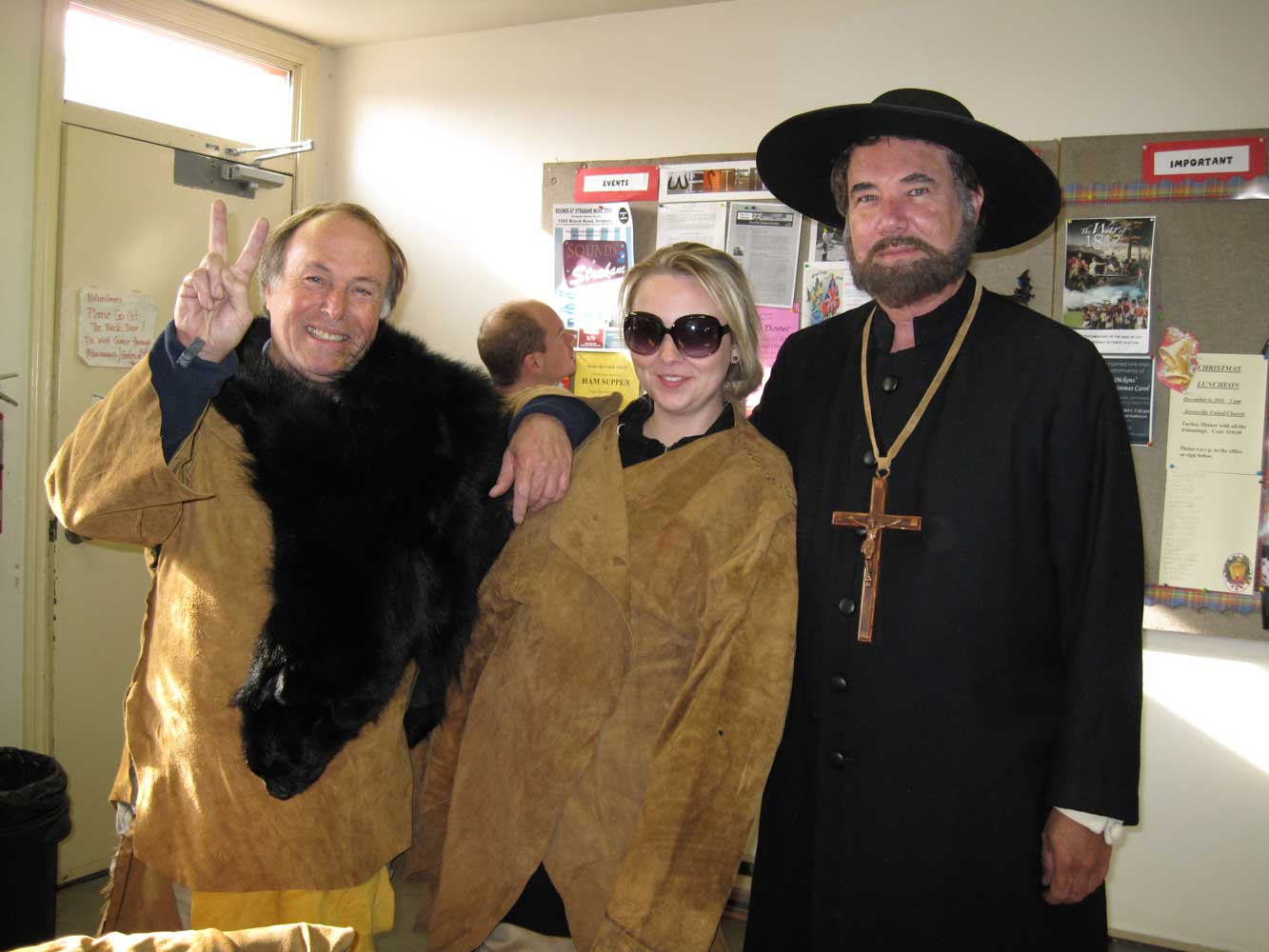 "Myself (left), Production Co-ordinator, Anya Sabkowska (centre) ready ourselves to become ""bodies"" by the disease the the Europeans unknowingly brought through the Jesuits, depicted here by the Line Producer, Seaghan Hancocks (right)."