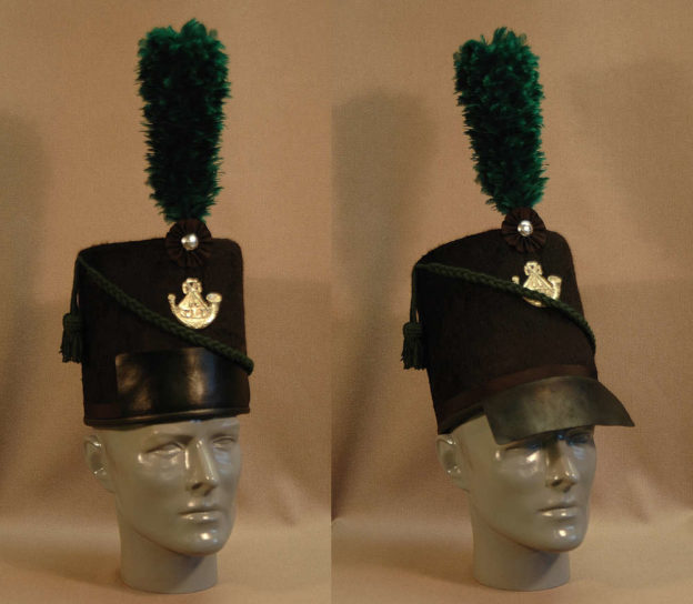 Glengarry Light Infantry shako, visor up and down positions shown