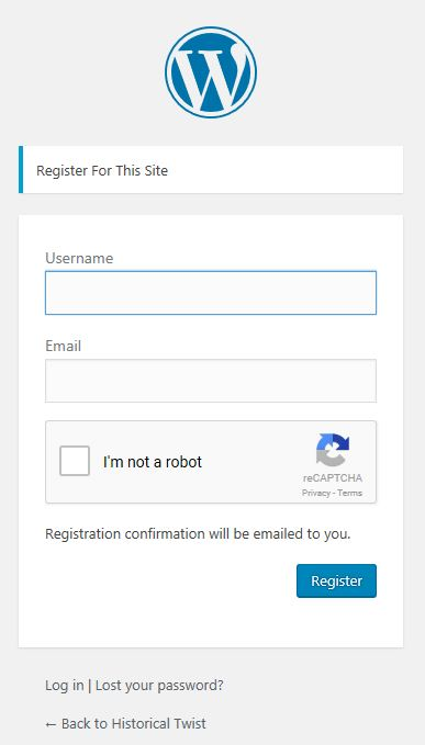 Registration Page for Historical Twist
