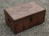 "15 x 23.5 x 11.5"" leather trunk"