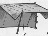 Wedge tent with one side up as a fly